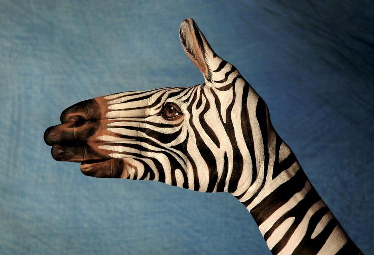hand art zebra